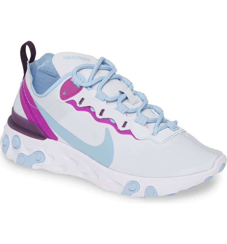 NIKE React Element 55 Sneaker, Main, color, GREY/ PSYCHIC BLUE/ VIOLET