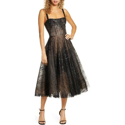 Bronx And Banco Mademoiselle Noir Sequin Cocktail Dress, Black