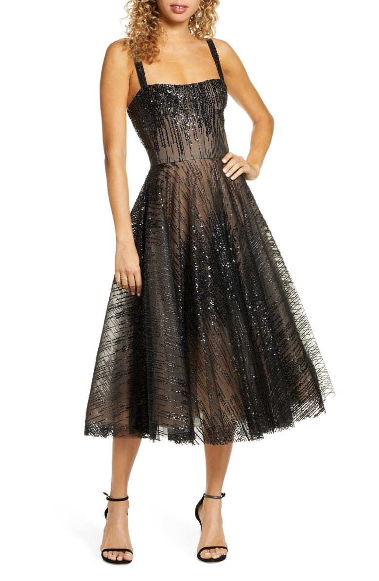 BRONX AND BANCO Mademoiselle Noir Sequin Cocktail Dress, Main, color, 001
