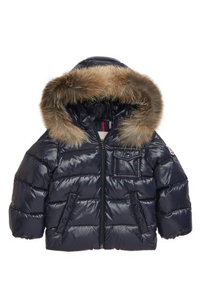 Moncler Babies' K2 Water Resistant Hooded Down Jacket With Genuine Fox Fur Trim In Navy