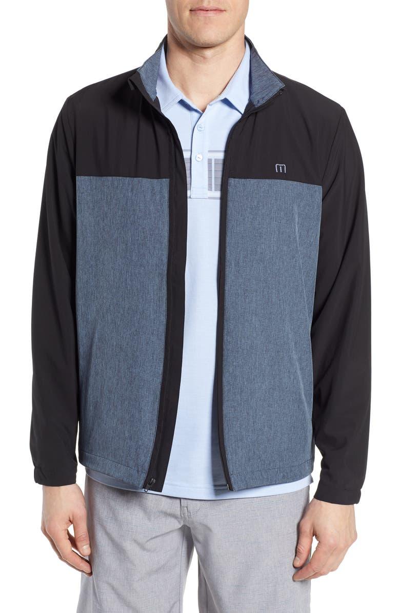 TRAVISMATHEW All Square Performance Jacket, Main, color, VINTAGE INDIGO/ BLACK