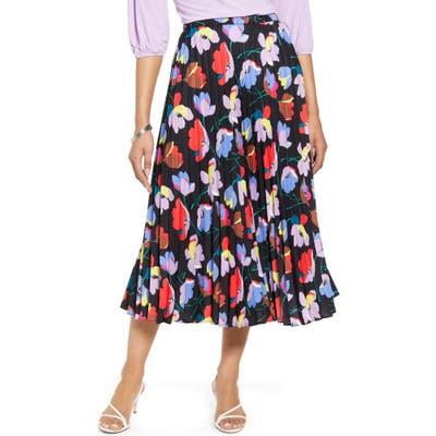 Halogen Pleated Midi Skirt, Black
