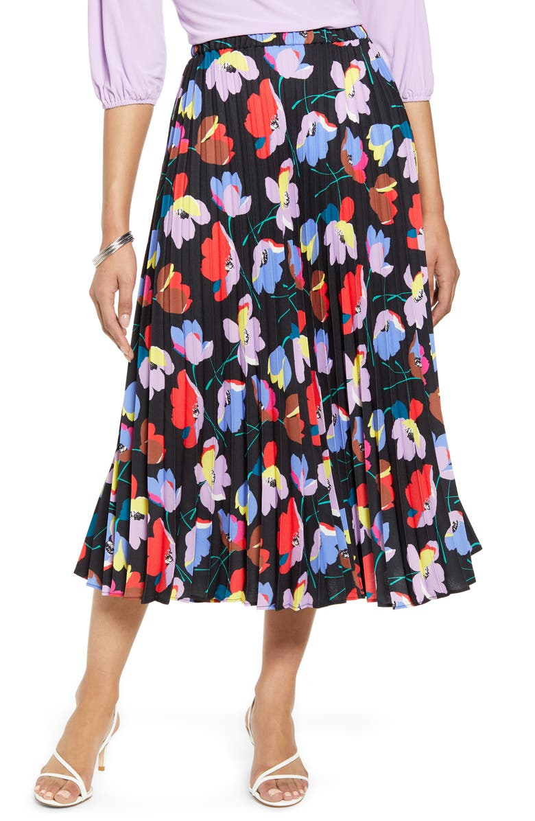 HALOGEN<SUP>®</SUP> Pleated Midi Skirt, Main, color, BLACK MULTI RITA FLORAL