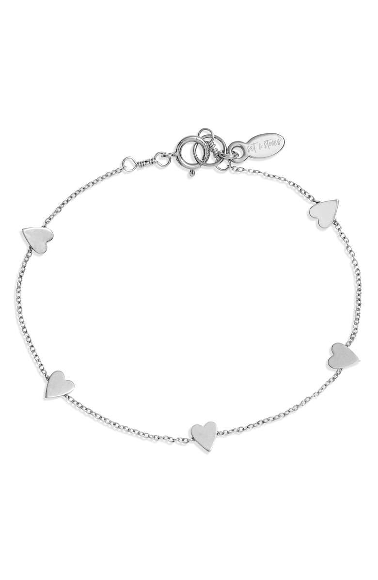SET & STONES Ryanne Heart Bracelet, Main, color, SILVER