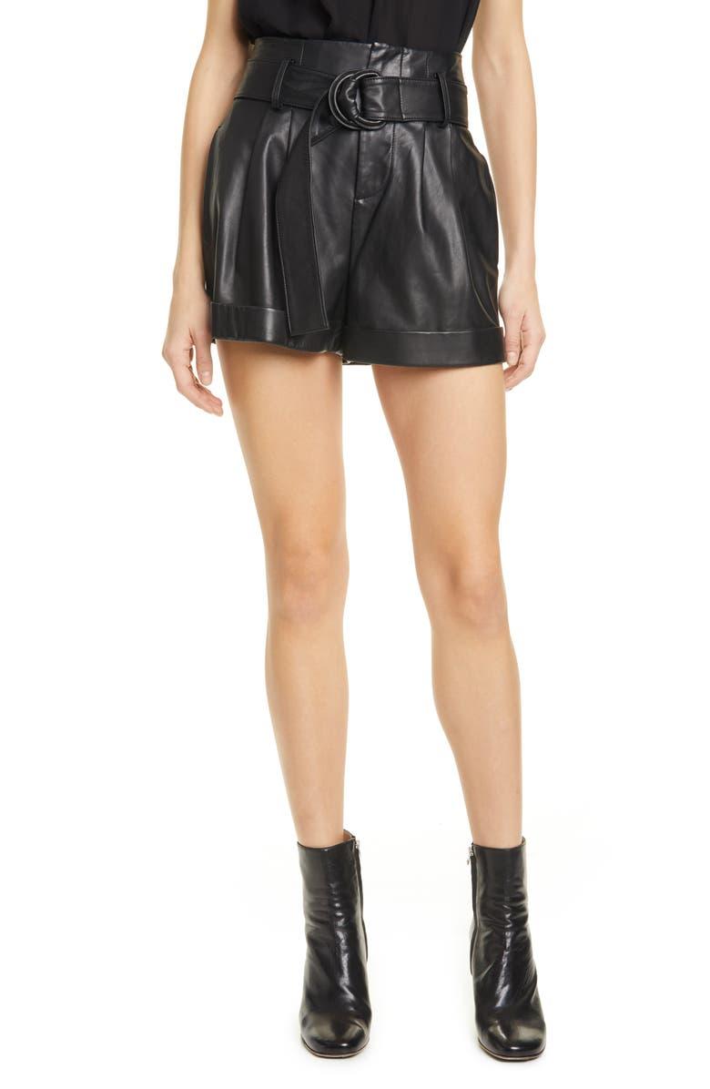 FRAME Leather Paperbag Waist Shorts, Main, color, NOIR