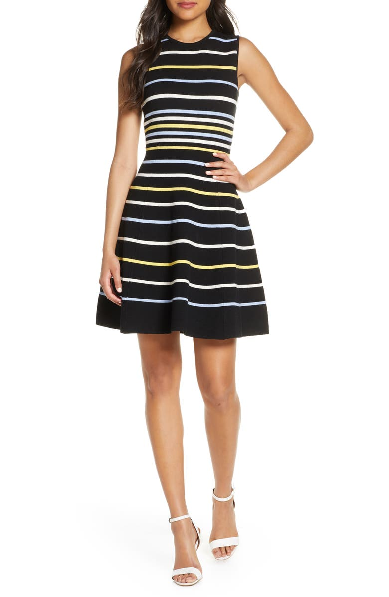 VINCE CAMUTO Stripe Fit & Flare Sweater Dress, Main, color, MULTI