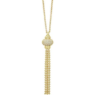 Lagos Caviar Gold Diamond Tassel Pendant Necklace