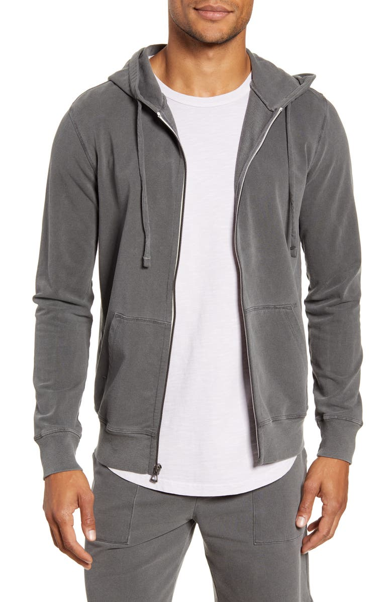 GOODLIFE Sun Faded Zip Front Stretch Cotton Terry Hoodie, Main, color, BLACK