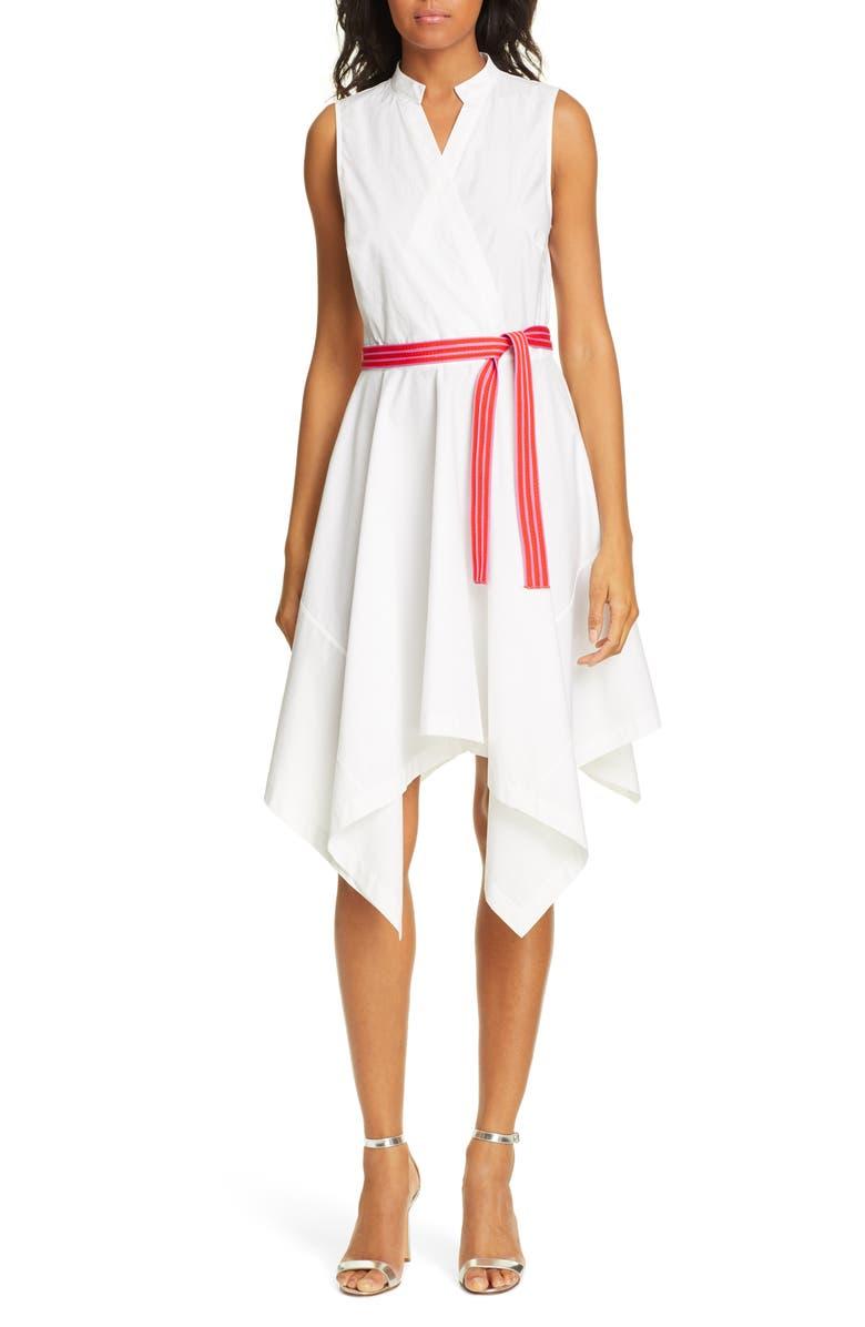DVF Marlene Handkerchief Hem Stretch Cotton Wrap Dress, Main, color, 100