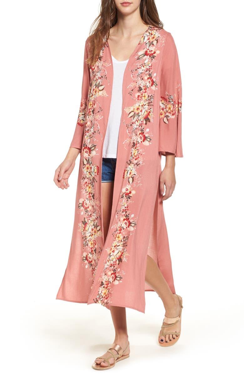 LOVE, FIRE Placed Floral Kimono, Main, color, 698