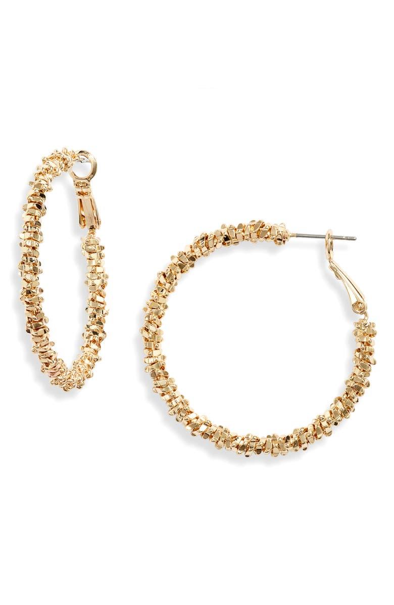 NORDSTROM Beaded Hoop Earrings, Main, color, GOLD