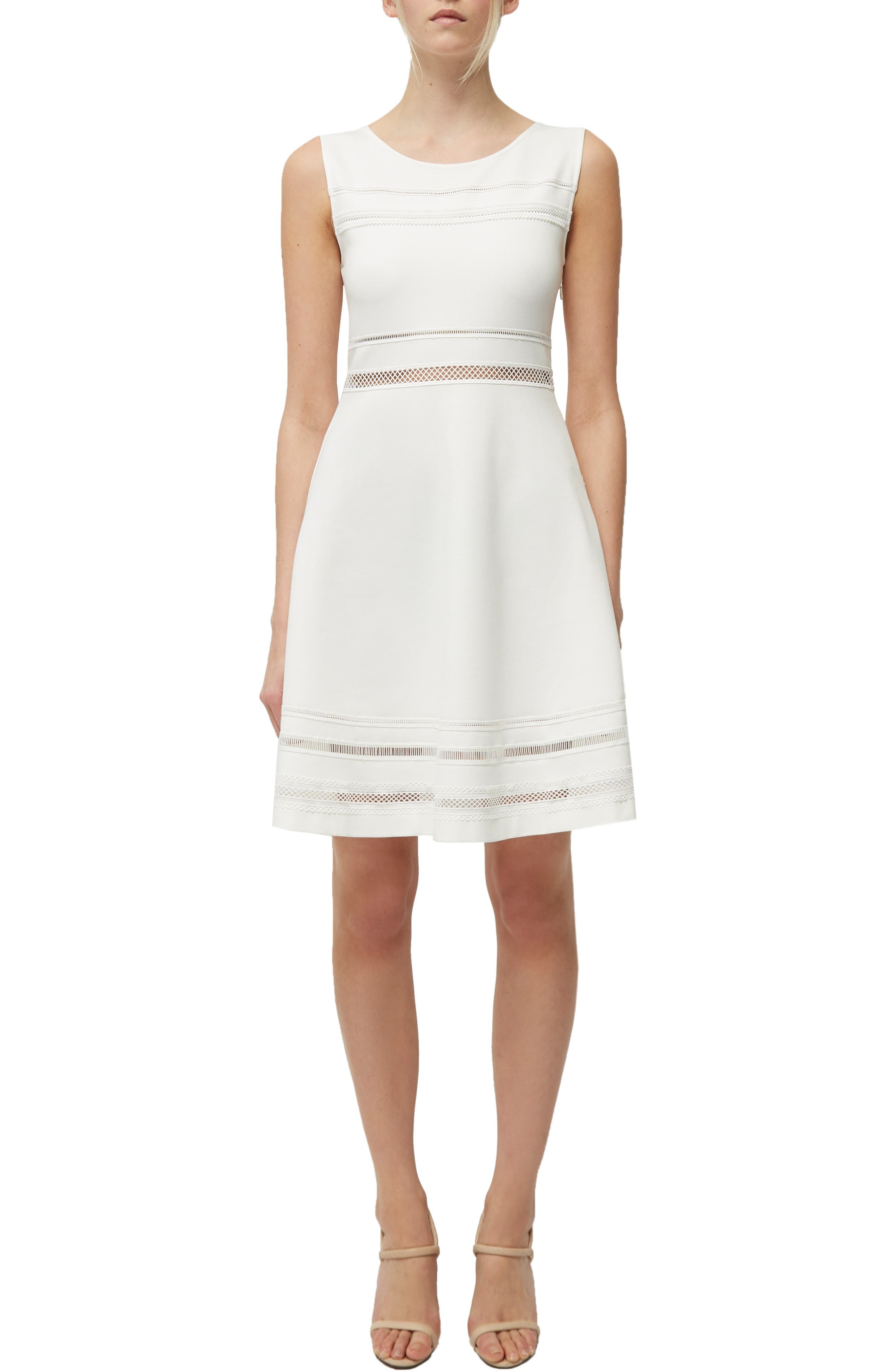 French Connection Scille Lula Jersey Fit & Flare Dress, White