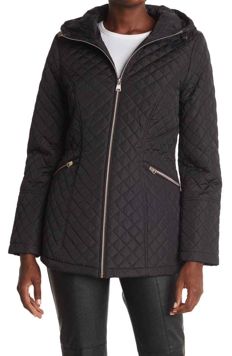 KENNETH COLE NEW YORK Quilted Anorak Jacket, Main, color, BLACK