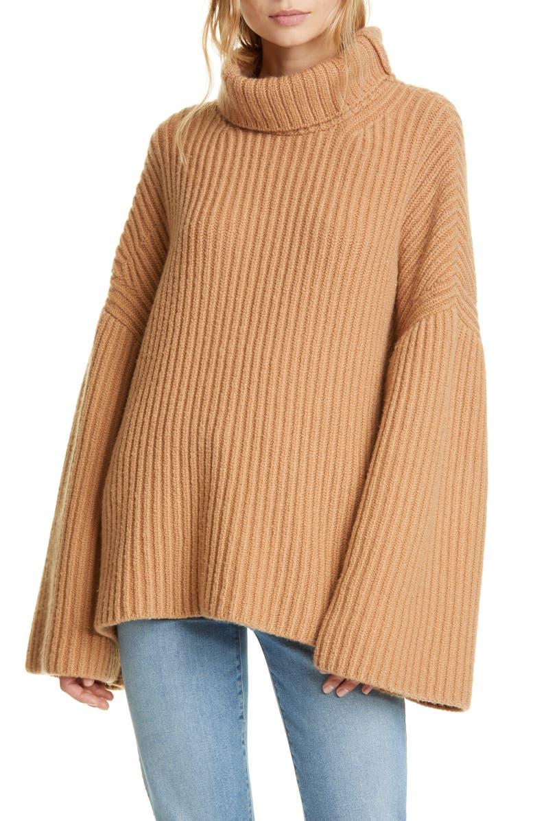 NANUSHKA Turtleneck Wool Blend Sweater, Main, color, CAMEL