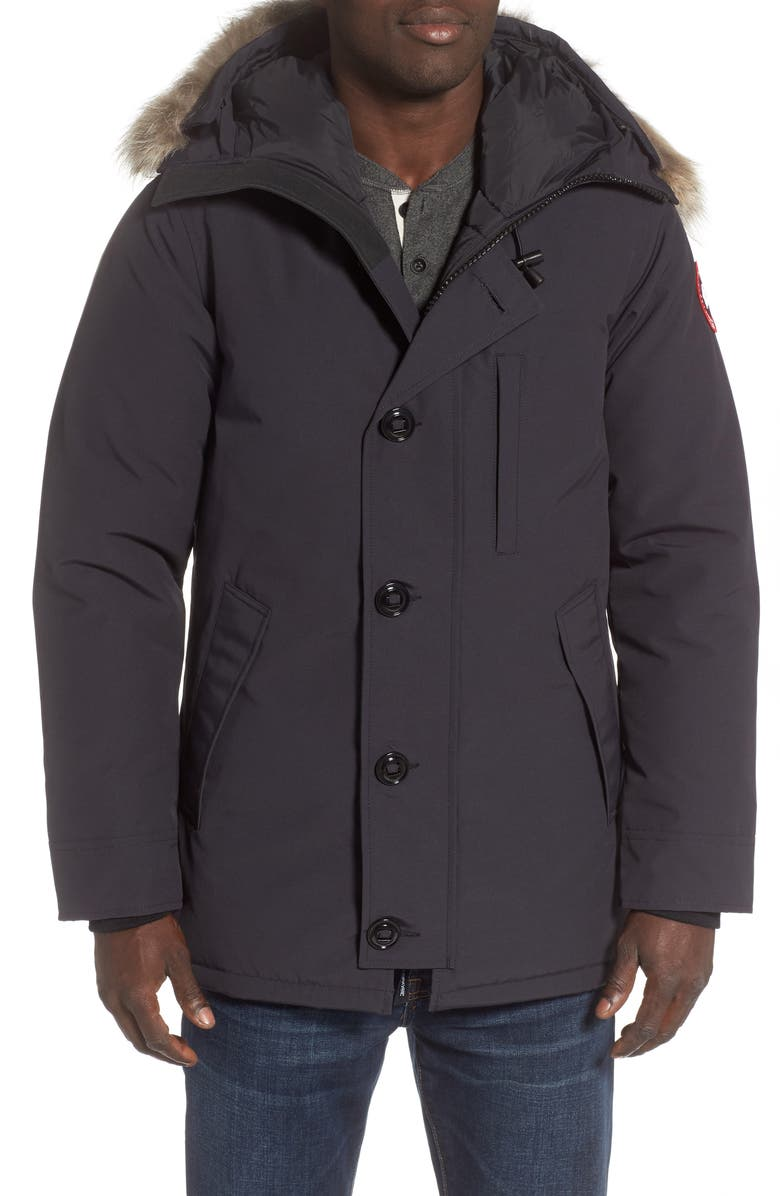 CANADA GOOSE Chateau Fusion Fit Parka with Genuine Coyote Fur Trim, Main, color, NAVY