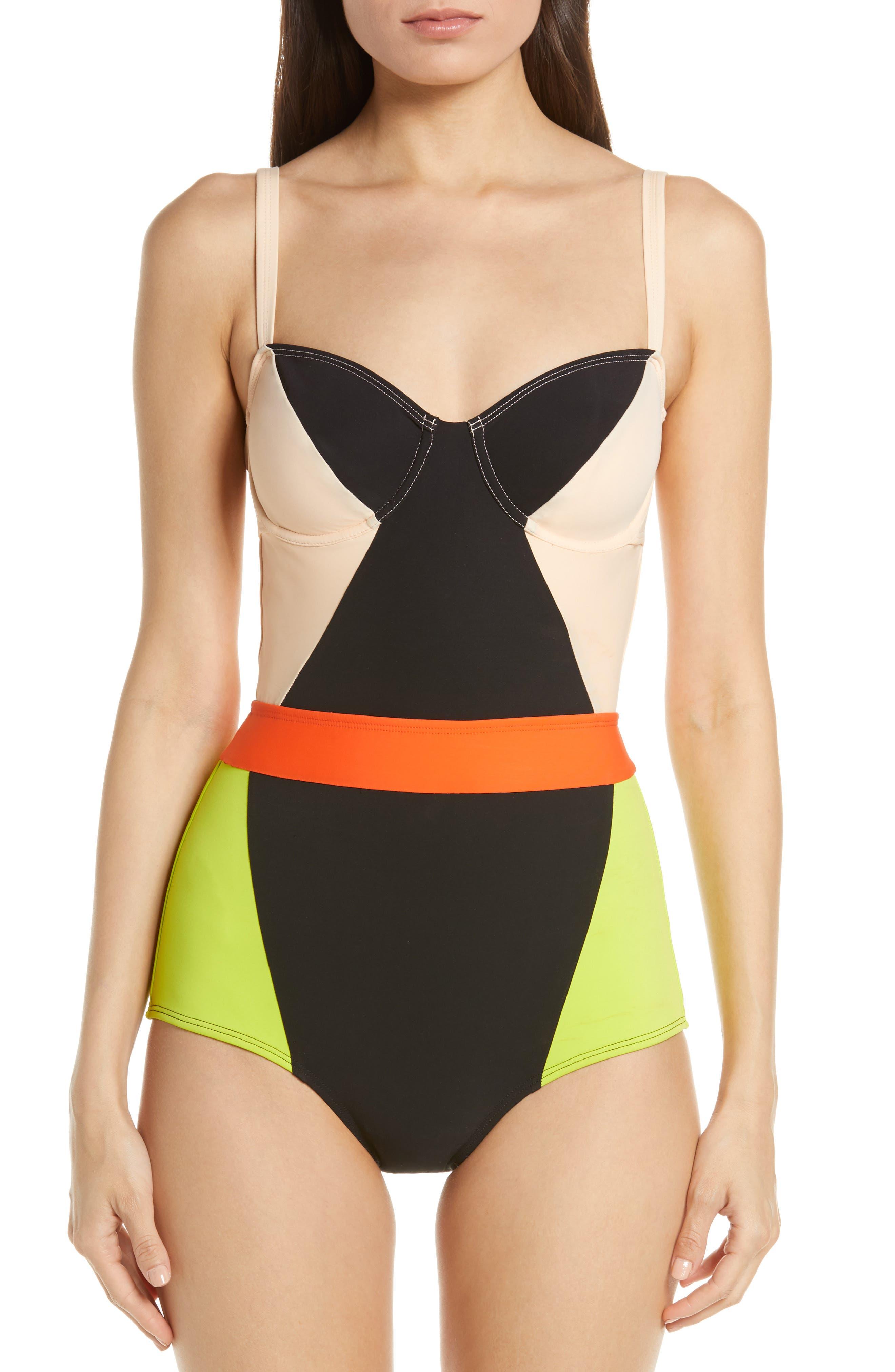 Flagpole Babe One-Piece Swimsuit, Black