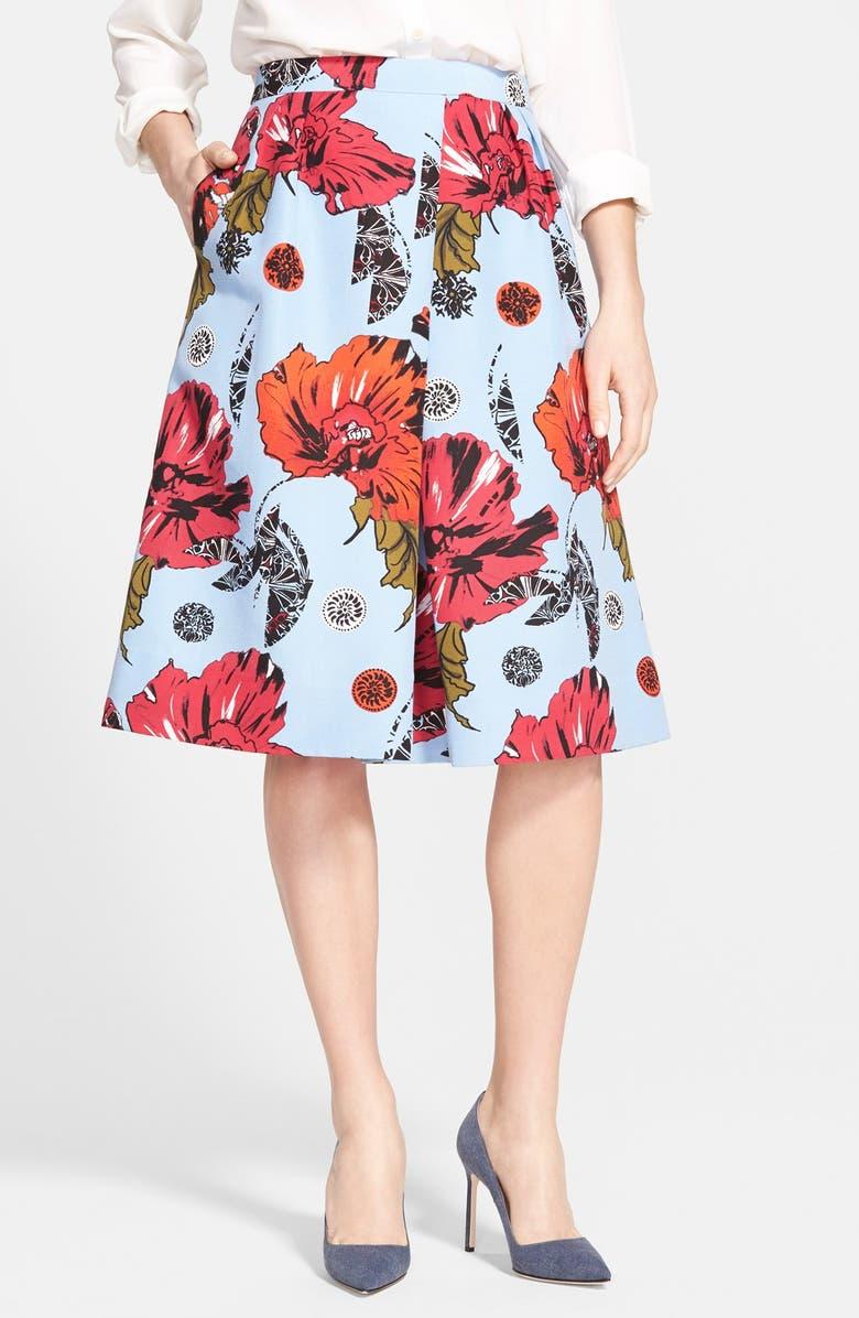 CLASSIQUES ENTIER<SUP>®</SUP> Floral Print Cotton & Silk Skirt, Main, color, 450