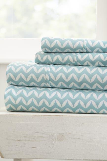 Image of IENJOY HOME The Home Spun Premium Ultra Soft Puffed Chevron Pattern 4-Piece Queen Bed Sheet Set - Light Blue