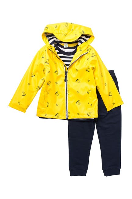Image of Little Me Boat Print Jacket, Tee, & Joggers 3-Piece Set