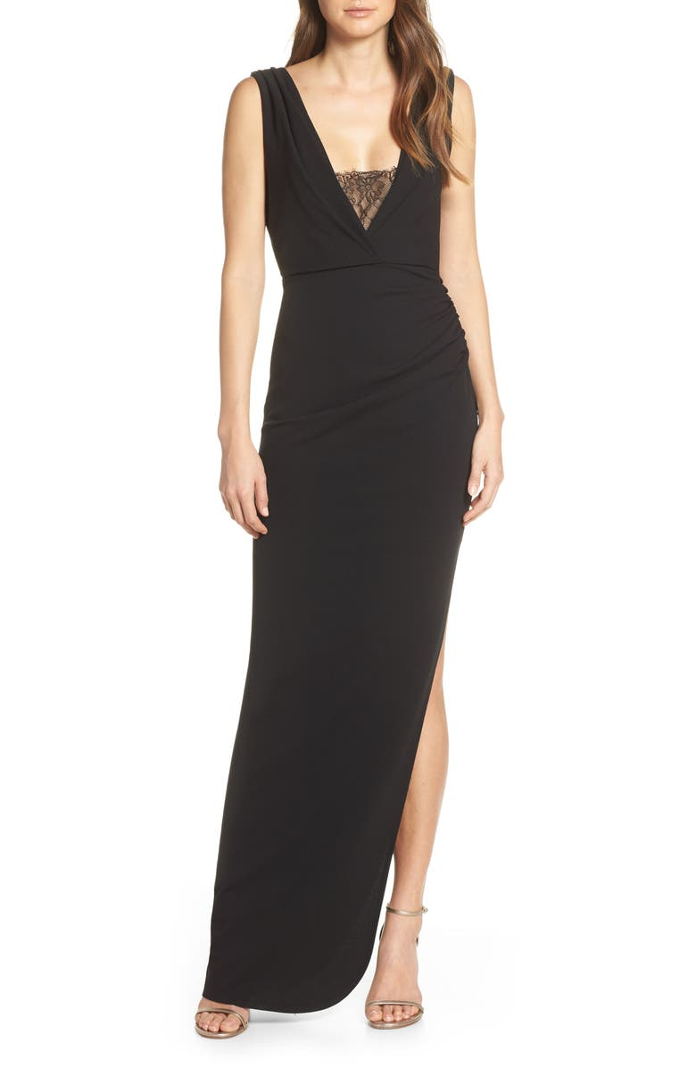 KATIE MAY Saving Face Gown, Main, color, BLACK