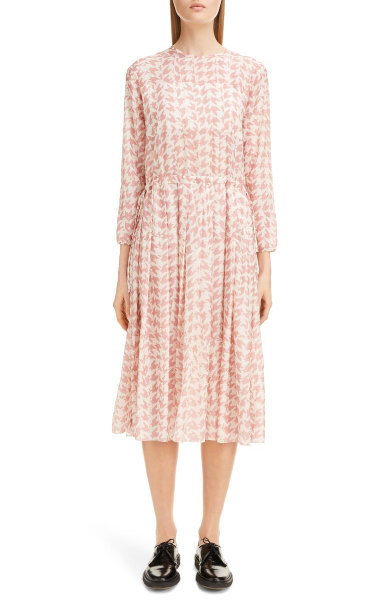 SARA LANZI Pleated Houndstooth Midi Dress, Main, color, PIED DE POULE PINK