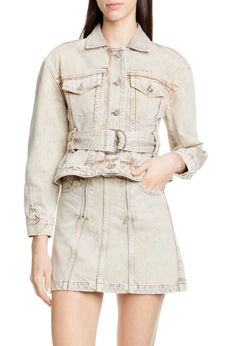PROENZA SCHOULER WHITE LABEL Proenza Schouler PSWL Belted Crop Denim Jacket, Main, color, TAUPE ACID WASH