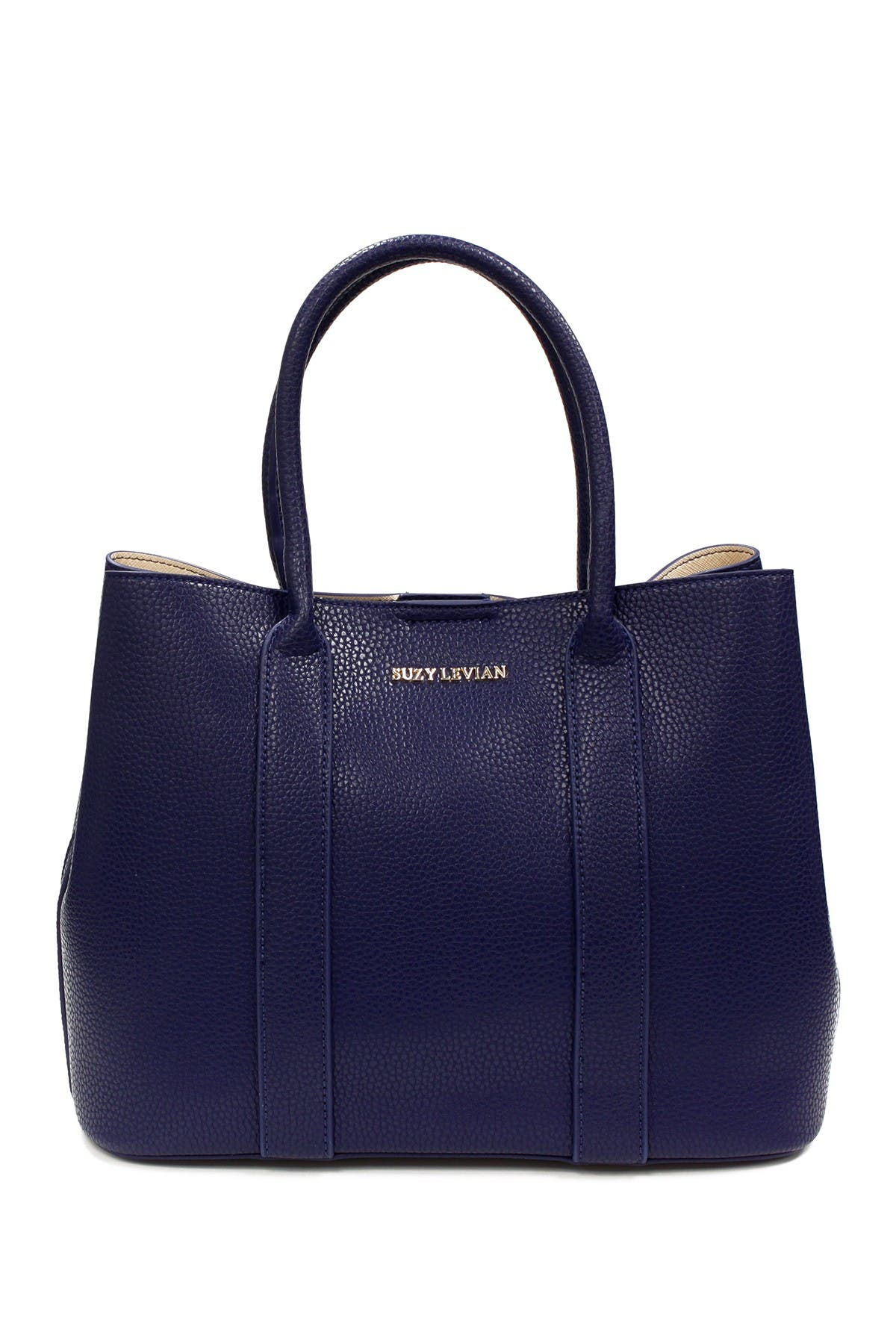 Image of Suzy Levian Pebbled Faux Leather Satchel