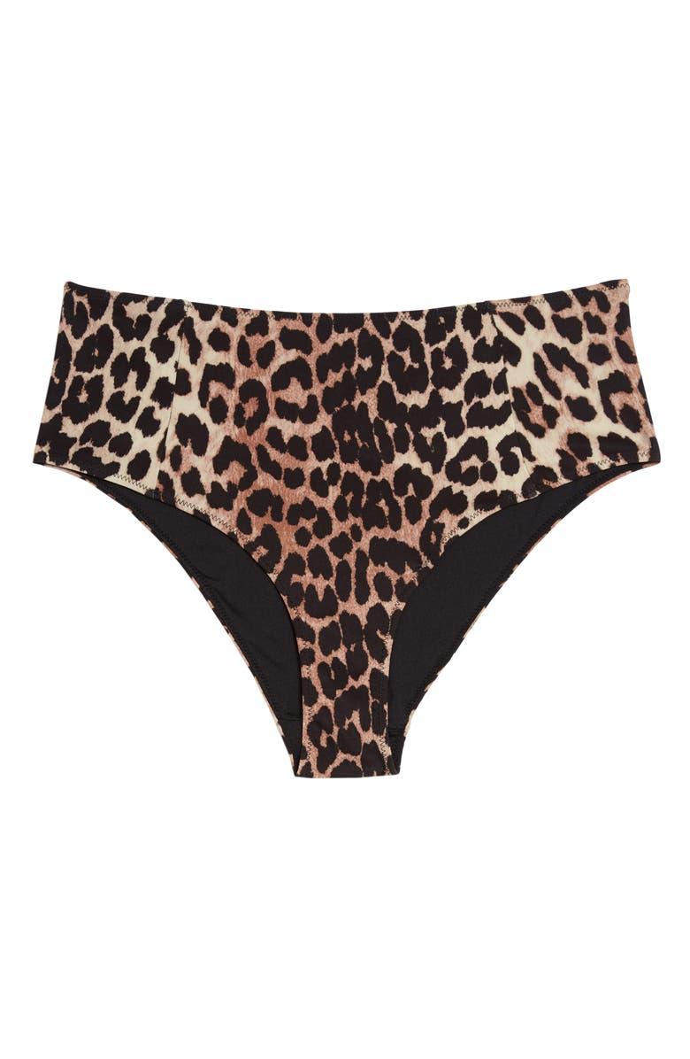 GANNI Leopard Print Bikini Bottoms, Main, color, 200