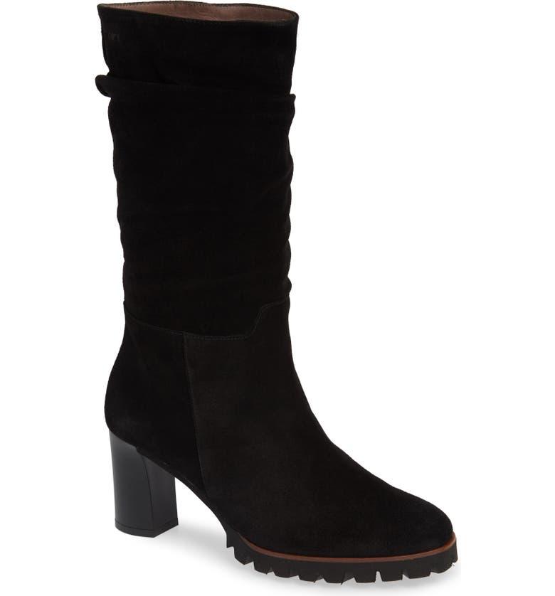 WONDERS Slouchy Block Heel Boot, Main, color, BLACK SUEDE