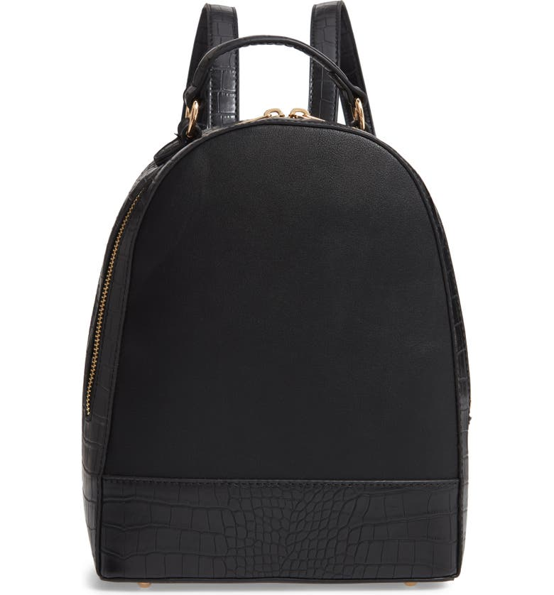 SOLE SOCIETY Jamya Croc Embossed Faux Leather Backpack, Main, color, 001