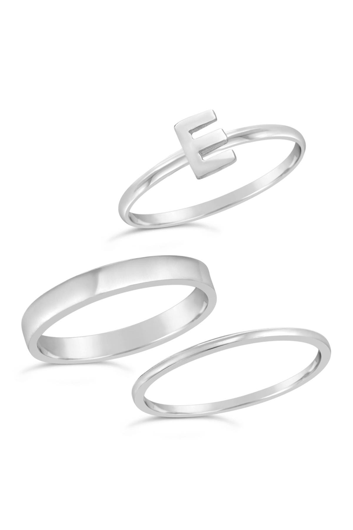 Image of Sterling Forever Sterling Silver Initial Ring - Set of 3 - E