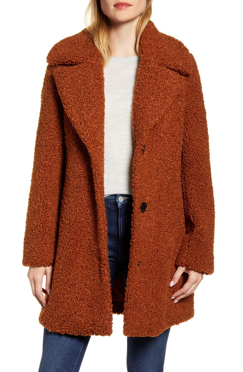 SAM EDELMAN Faux Fur Teddy Coat, Main, color, COGNAC