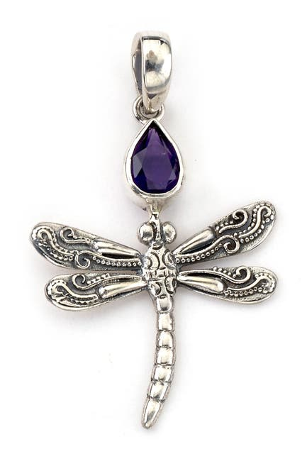 Image of Samuel B Jewelry Sterling Silver Dragonfly Amethyst Accent Pendant