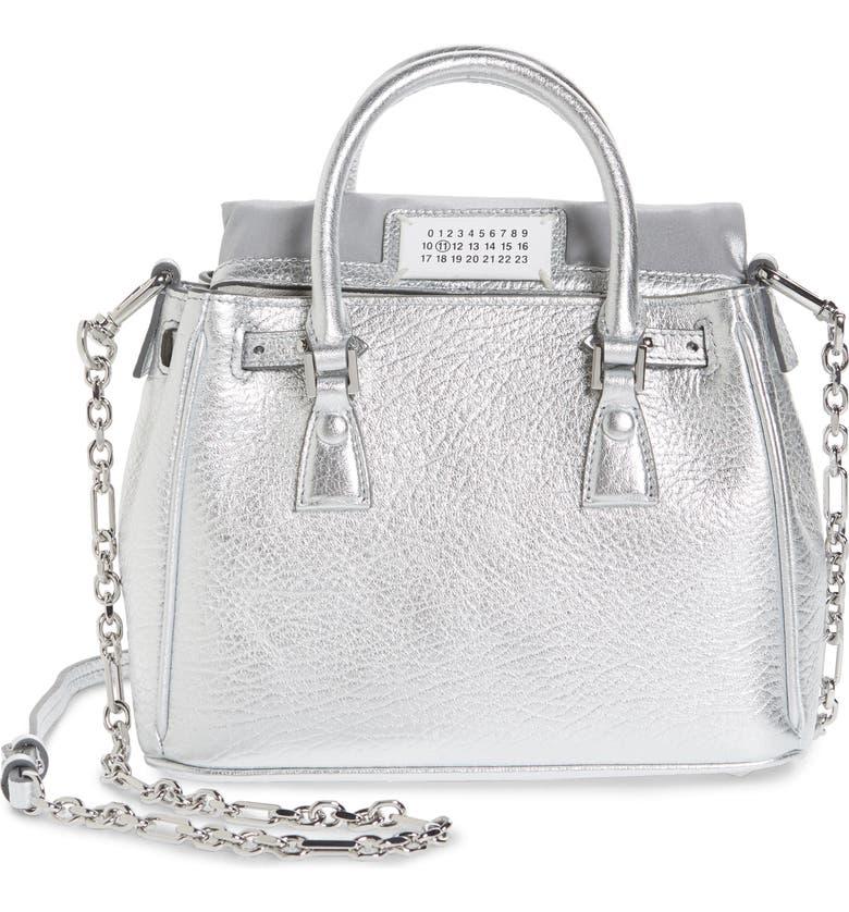 MAISON MARGIELA Mini 5AC Flap Metallic Leather Shoulder Bag, Main, color, SILVER
