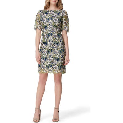 Petite Tahari Embellished Lace Sheath Dress, Blue/green