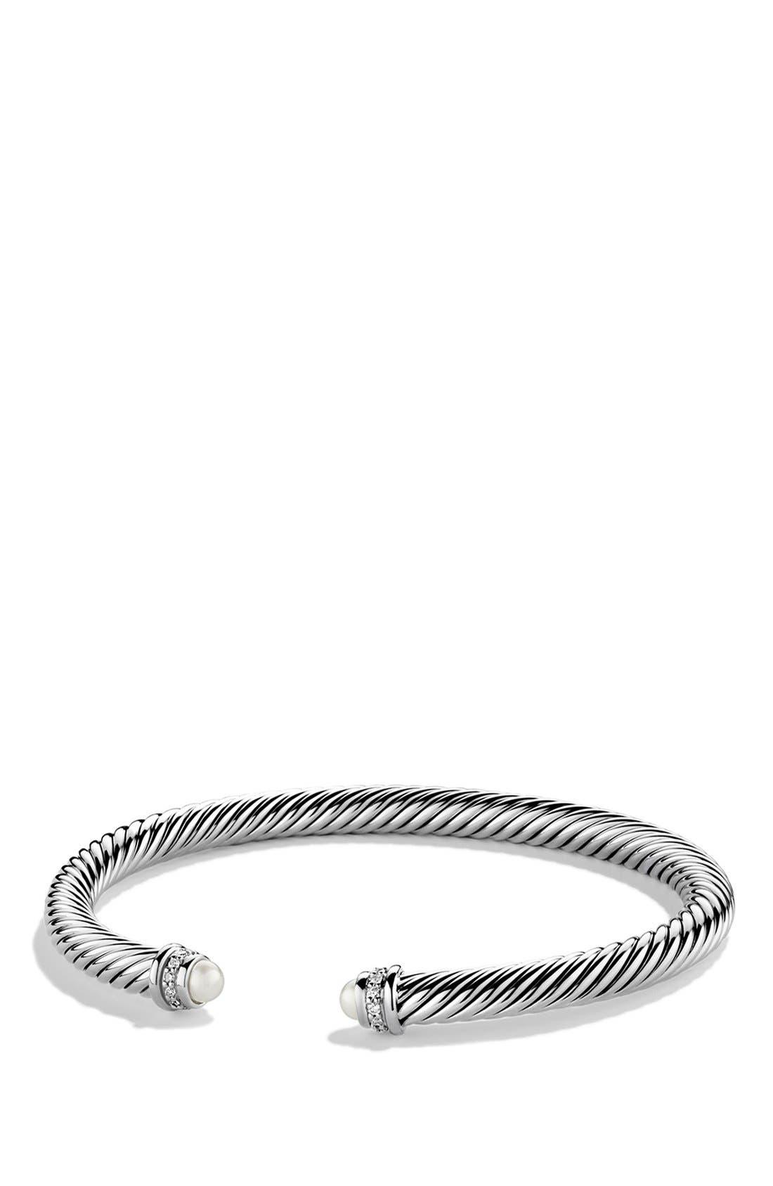 ,                             Cable Classics Bracelet with Semiprecious Stones & Diamonds, 5mm,                             Main thumbnail 1, color,                             PEARL