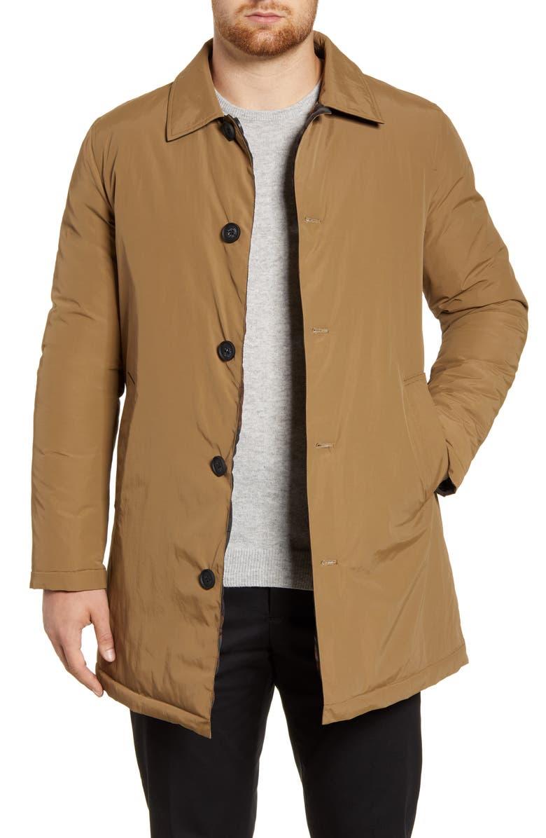 COLE HAAN Reversible Quilted Mac Coat, Main, color, KHAKI
