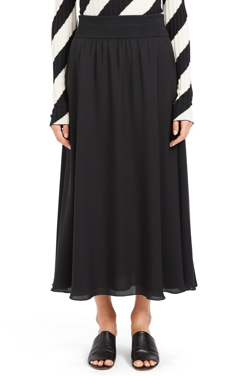 THEORY Silk Maxi Skirt, Main, color, BLACK