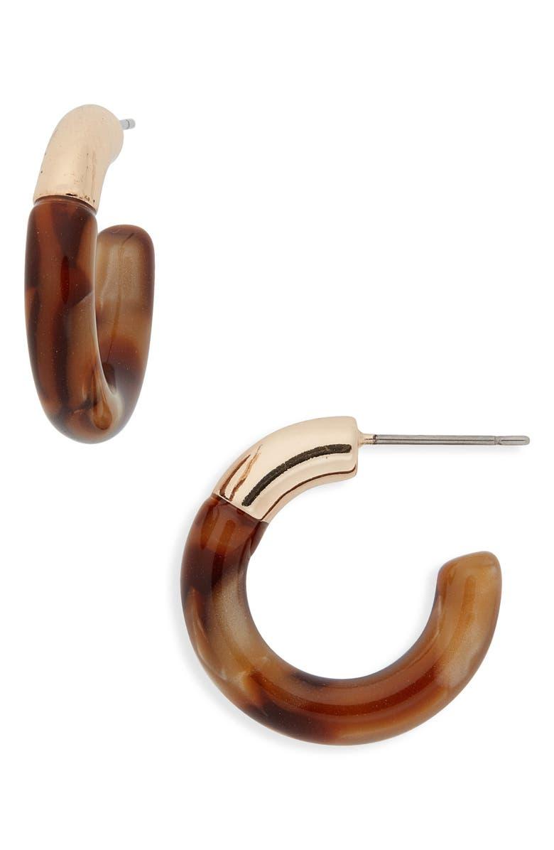 LELE SADOUGHI Mini Hoop Earrings, Main, color, COBBLESTONE