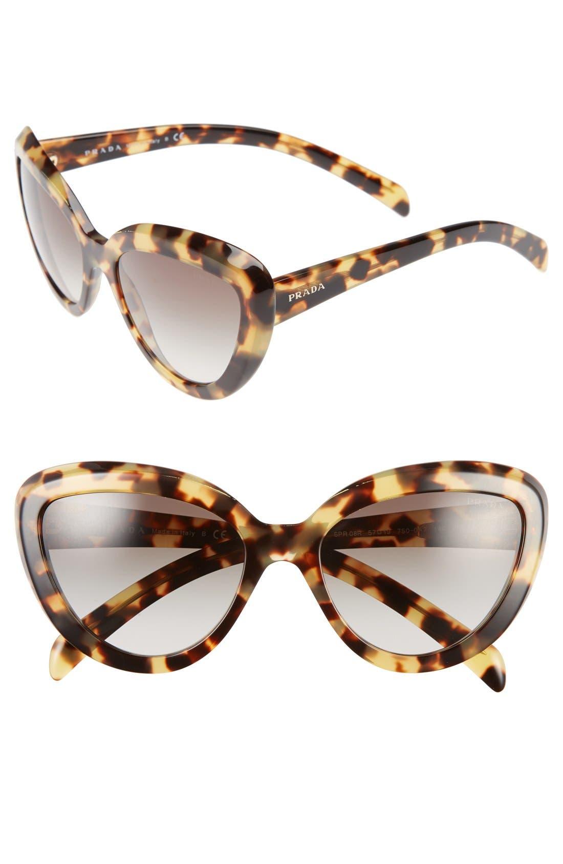 ,                             57mm Cat Eye Sunglasses,                             Main thumbnail 3, color,                             200