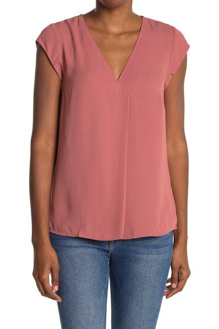 Image of DR2 by Daniel Rainn Inverted Pleat V-Neck Cap Sleeve Shirt