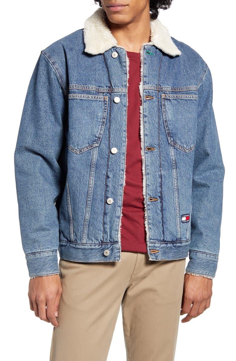 TOMMY JEANS TJM Fleece Lined Denim Trucker Jacket, Main, color, 900
