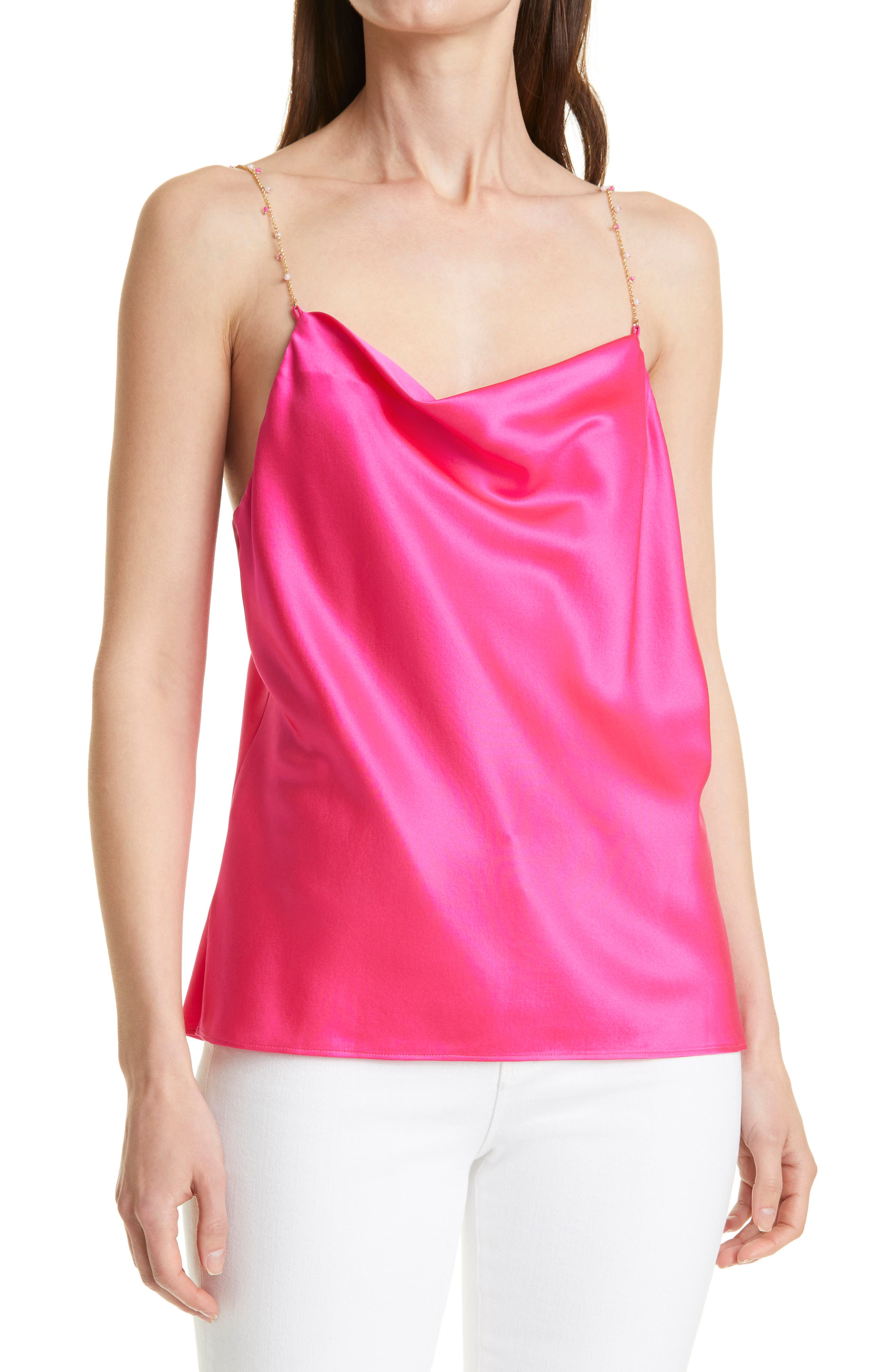 Busy Bead Cowl Neck Stretch Silk Camisole