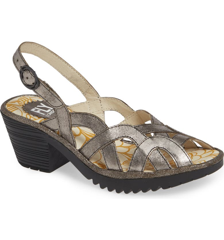 FLY LONDON Weza Sandal, Main, color, GREY LEATHER