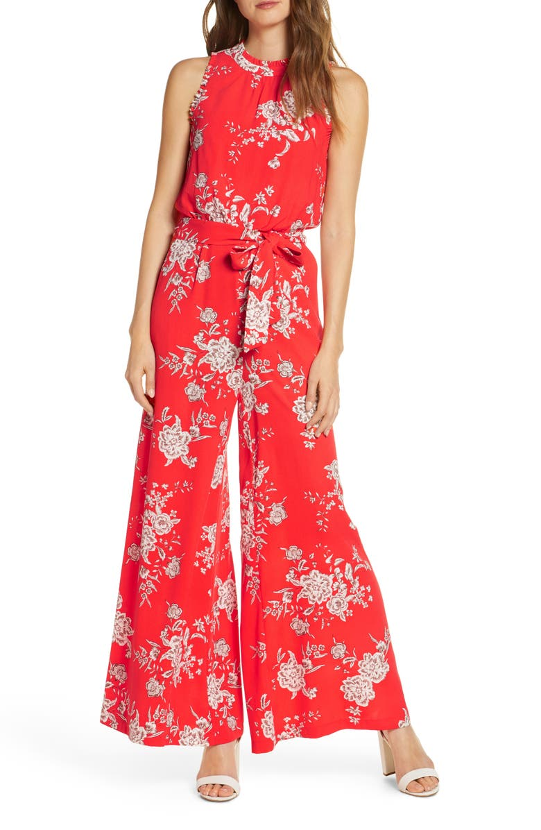 VINCE CAMUTO Floral Sleeveless Wide Leg Crepe Jumpsuit, Main, color, 812