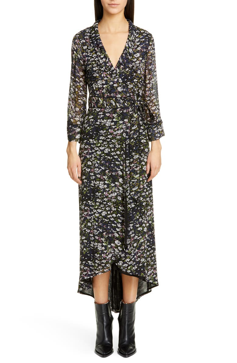 GANNI Floral Print Georgette Midi Wrap Dress, Main, color, BLACK
