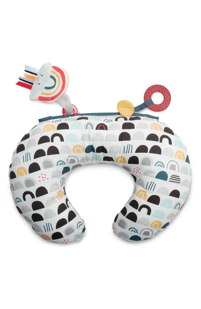 BOPPY Tummy Time - SlideLine Collection Mini Pillow, Book & Teething Ring, Main, color, BLACK WHITE AND RAINBOW