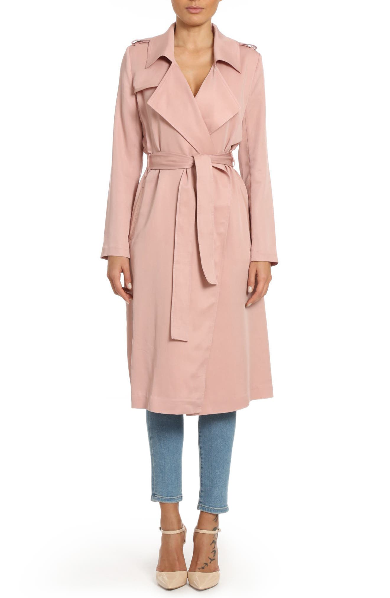 ,                             Badgley Mischka Faux Leather Trim Long Trench Coat,                             Main thumbnail 38, color,                             656