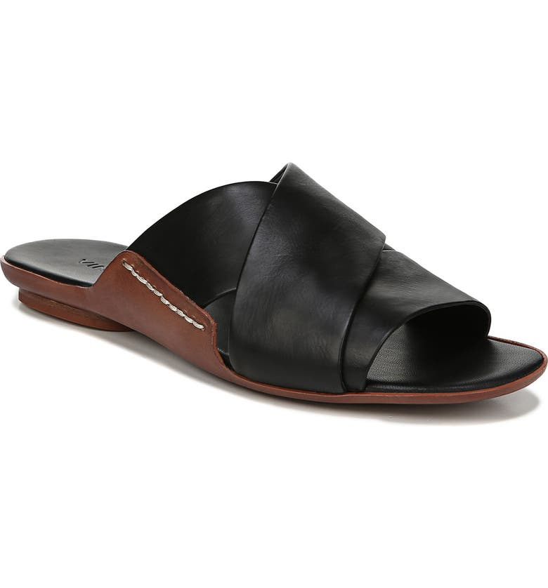 VINCE Tamara Cross Strap Slide Sandal, Main, color, BLACK
