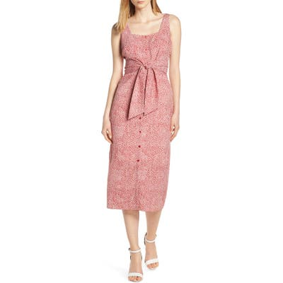 Chelsea28 Floral Tie Front Midi Dress, Red